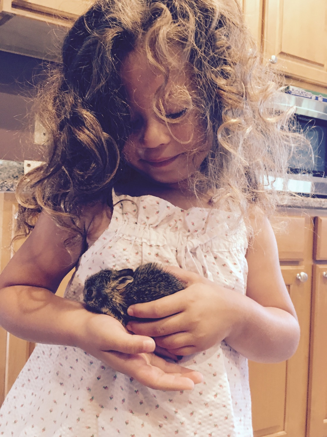 A little girl with golden curls in homemade pajamas holds a baby bunny.