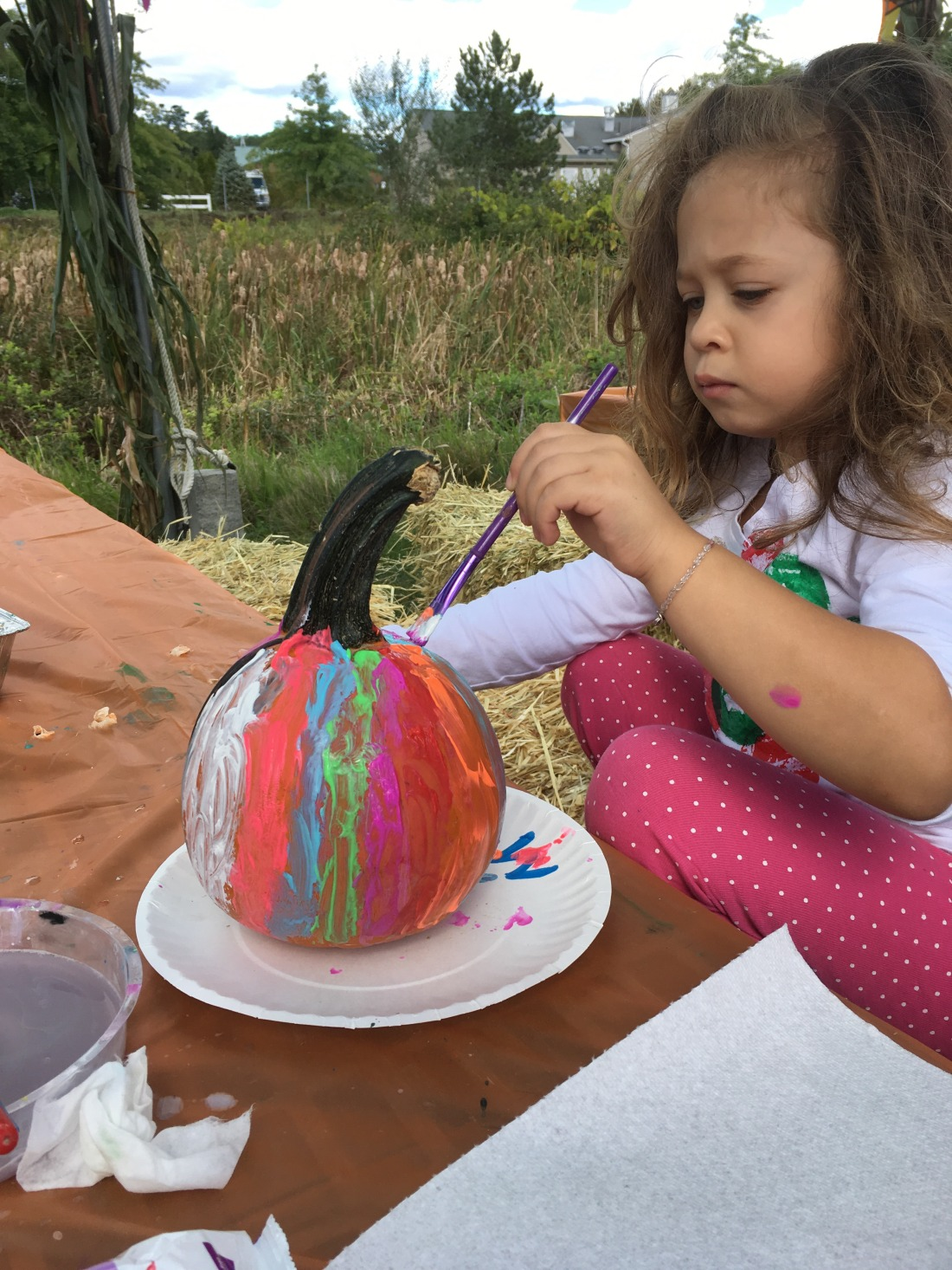 A little girl concentrates while she paints a pumpkin