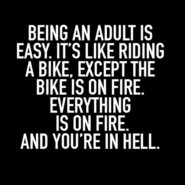"A quote graphic reads ""Being an adult is easy. It's like riding a bike, except the bike is on fire. Everything is on fire. And you're in Hell."""