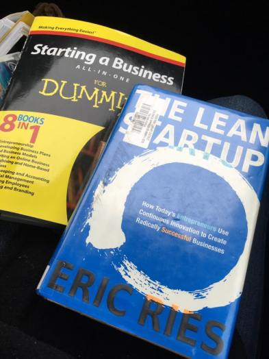 "Two library books, ""The Lean Startup"" and ""Starting a Business for Dummies."""