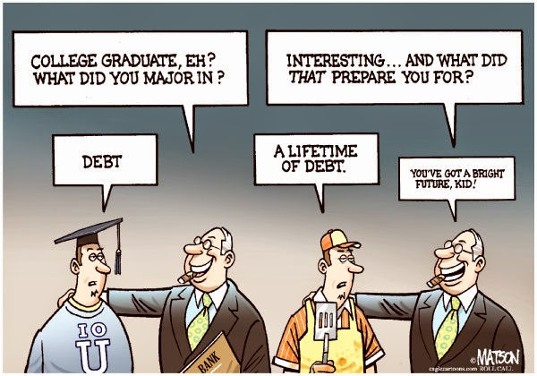 A cartoon of a college graduate and a bank employee.