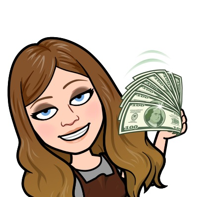 A Bitmoji of Stacy Mojica smiling and fanning herself with eight 100 dollar bills.