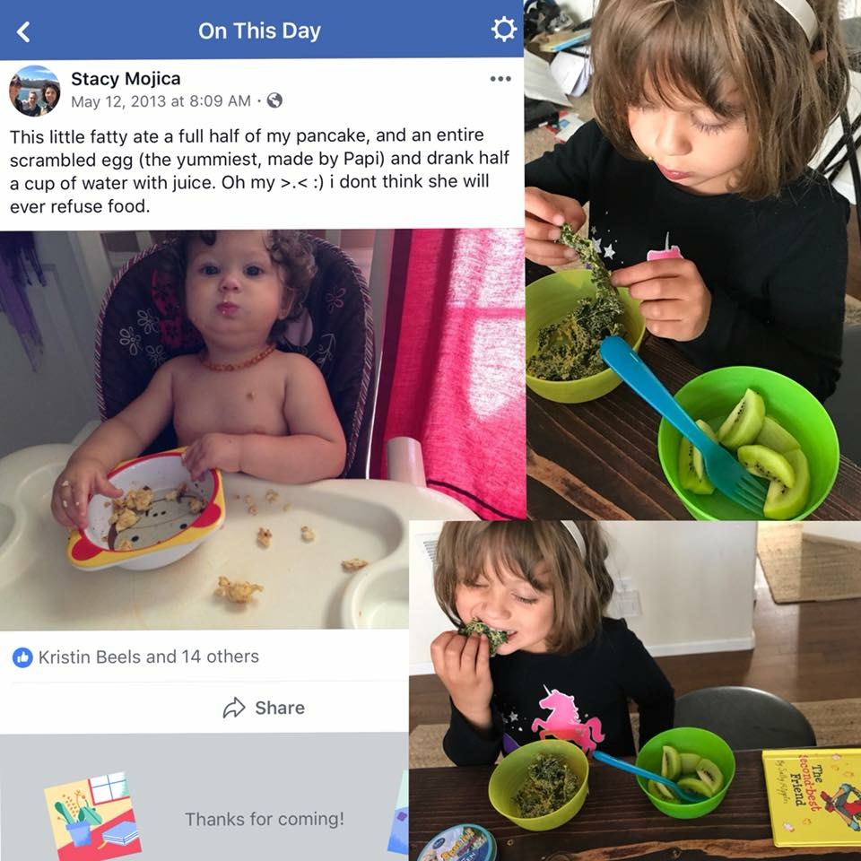 A collage of three pictures. One is a screenshot from a Facebook memory where a baby sitting in a high chair eats scrambled egg. The other two are her as a young child eating kale chips and kiwi.
