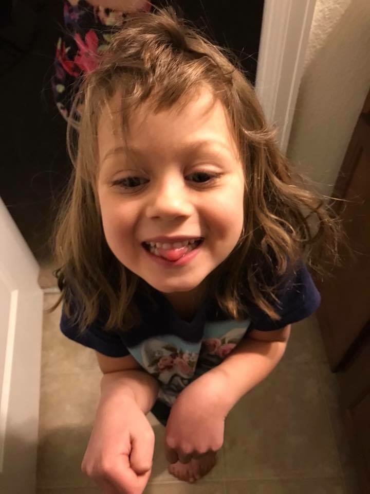 A five year old gave herself a haircut.