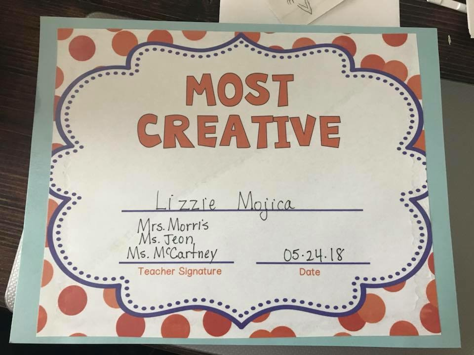 "A school award for ""Most Creative"" signed by three teachers."