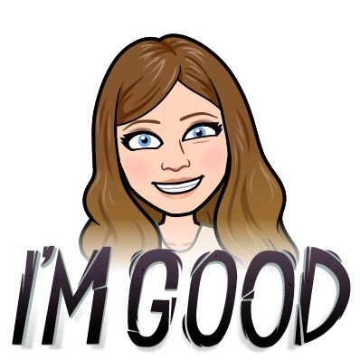 "A Bitmoji of Stacy Mojica with an eye twitch. Capital letters at the bottom read ""I'M GOOD"""