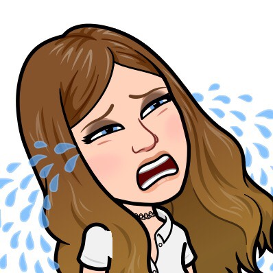 A Bitmoji of Stacy Mojica crying.