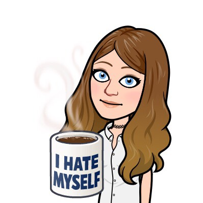 "A Bitmoji of Stacy Mojica holding a cup of coffee. The cup reads ""I HATE MYSELF."""