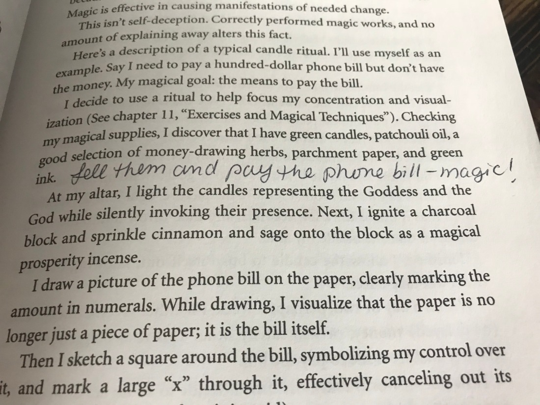 "A picture of a page from ""Wicca: A Guide for the Solitary Practitioner"" describing how to do a spell to pay a phone bill."