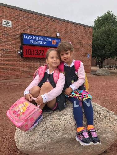 Mia (1st grade) and Lizzie (Kinder) on the first day of school, 2017.