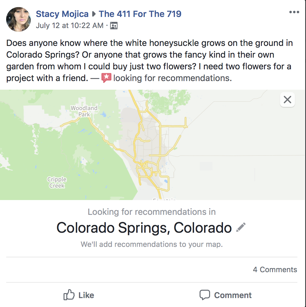 A screenshot of a Facebook post in a local community group looking for recommendations of where to find honeysuckle growing in Colorado Springs.