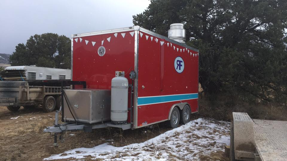A red food trailer in Cotopaxi, CO.