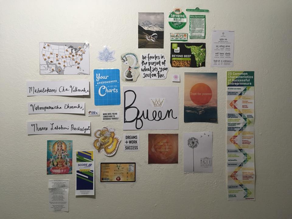 A vision board for the opening of a healthy fast food restaurant.