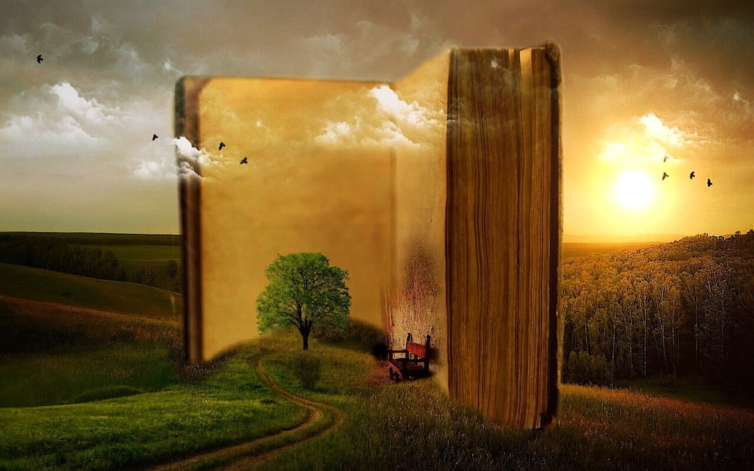 Gigantic ancient book standing open in a field with a tree and chair sitting in front of its open pages, birds fly through the air.