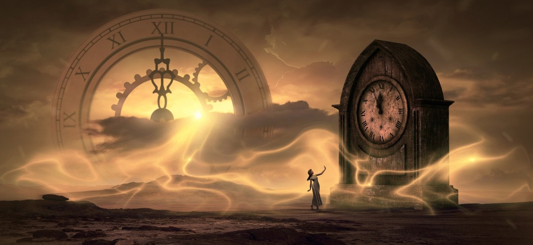 Fantasy image of a woman next to a giant clock, in a golden misty world with a gigantic roman numeral clock looming in the sky.