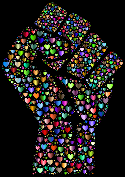 Fist made up of multi-colored hearts on a black background