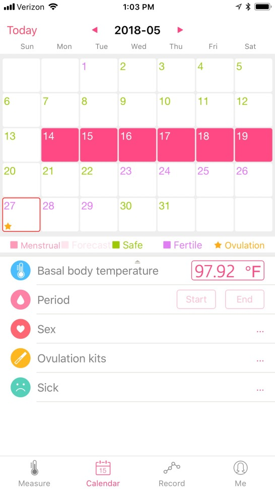 ovulation temp is half a degree higher than I normally run.