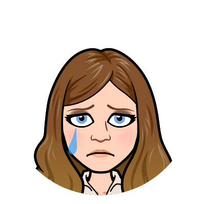 A bitmoji of Stacy Mojica sad, heartbroken, and crying a large tear out of her right eye.