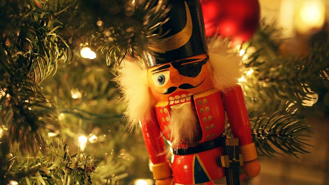 a pirate nutcracker hanging on a Christmas tree
