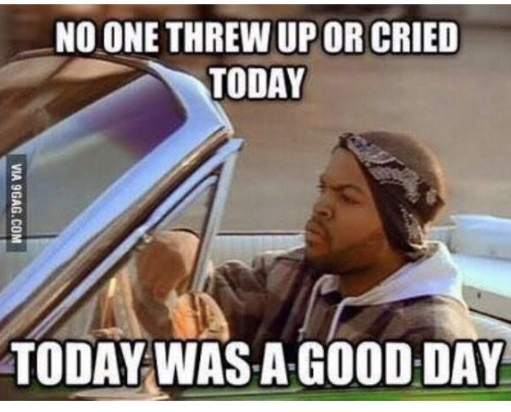 "meme ""No one threw up or cried today. Today was a good day."""