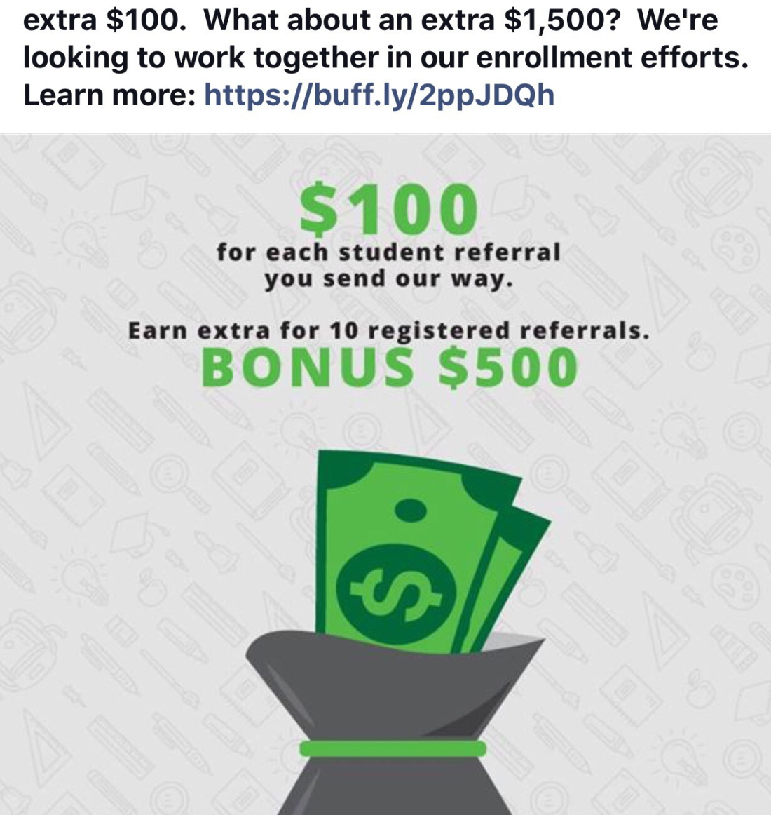 graphic screenshot from Facebook money bag