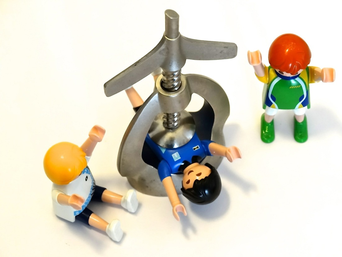 Playmobil characters play with a nutcracker
