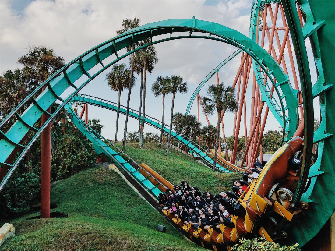 a teal roller coaster