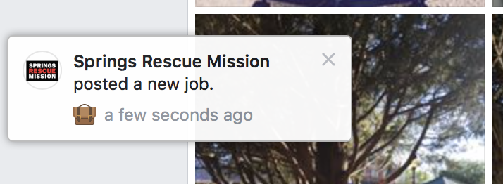 "A Facebook notification reads ""Springs Rescue Mission posted a new job."""