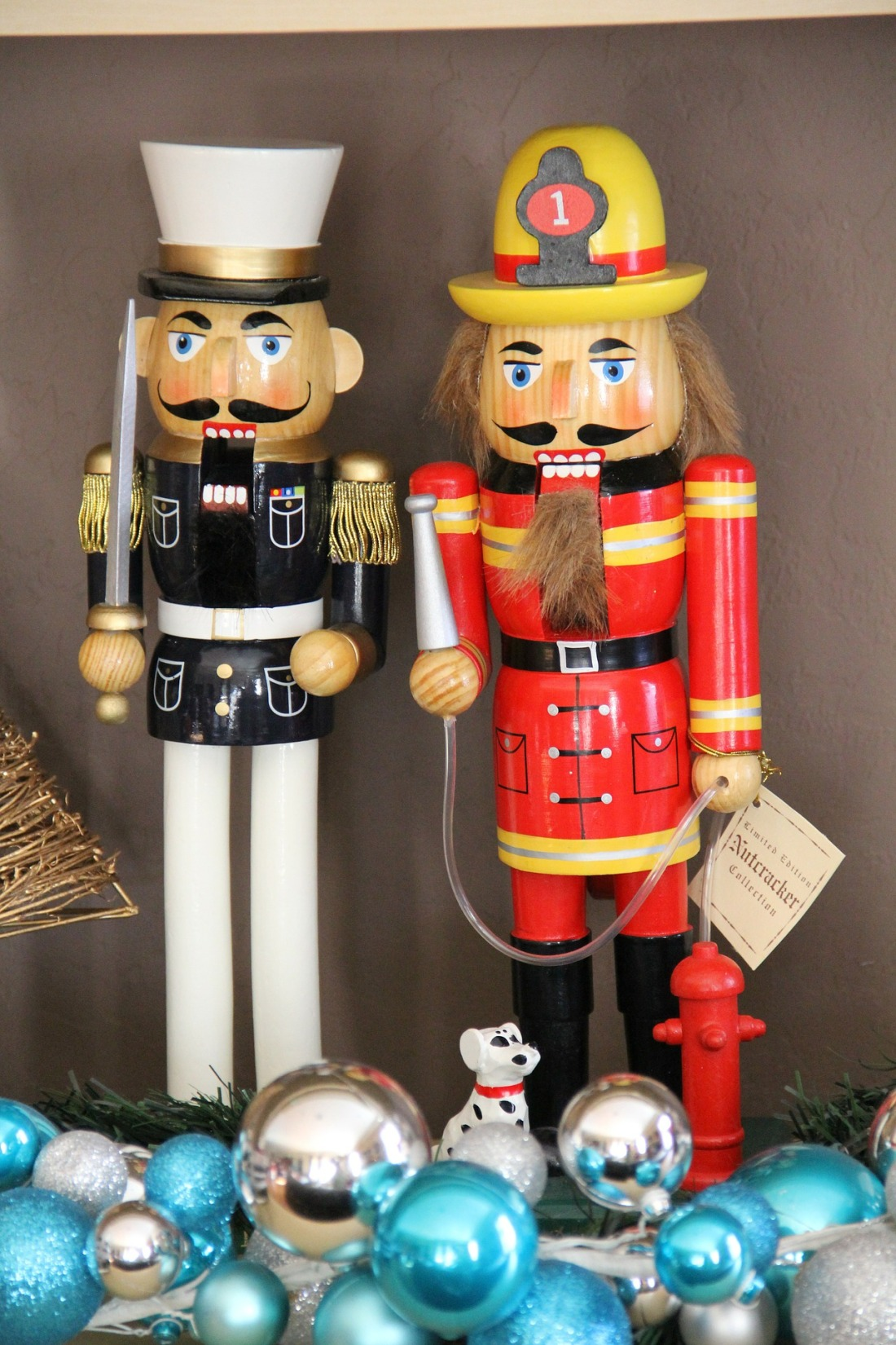 a nutcracker marine and a nutcracker fireman