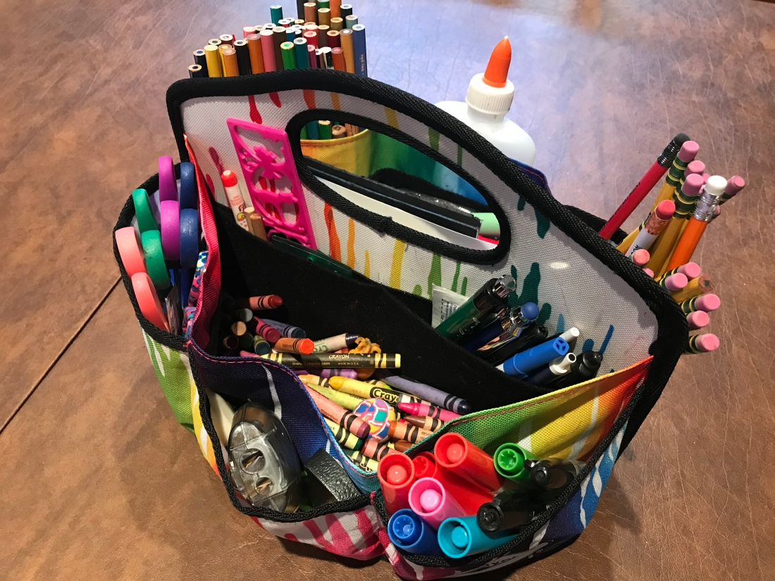 Colorful craft caddy