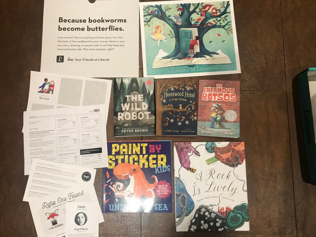 Literati subscription box: children's books and receipt and stickers