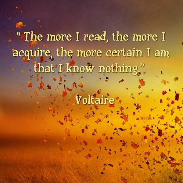 voltaire quote 'the more I read, the more I acquire, the more certain I am that I know nothing.