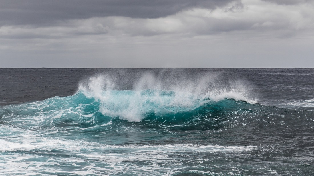 ocean wave with a gray sky above it