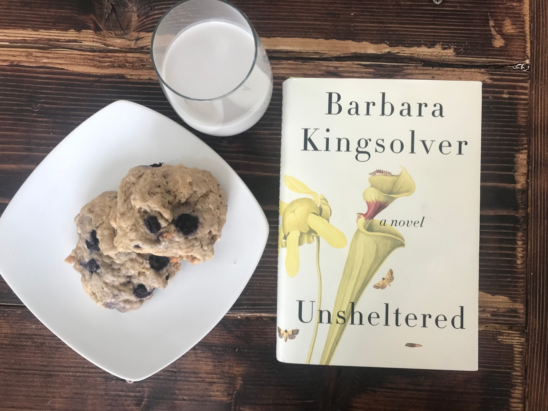 Unsheltered, by Barbara Kingsolver and blueberry lavender walnut scones
